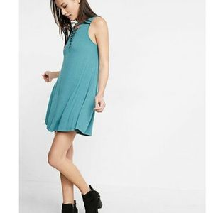 Express Front Lace Up Trapeze Hem Cotton Dress